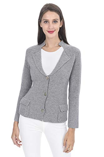 State Cashmere Women's Button Down Cardigan with Pockets 100% Pure Cashmere Long Sleeve Sweater (Large, Heather Grey)