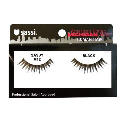 Sassi 804-M12 Michigan Ave 100% Human Hair Sassy Eyelashes, Black, 6 Count