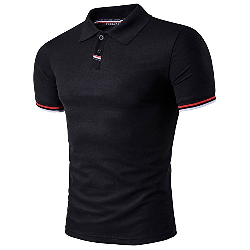 Polo shirt T Casuale Corta Poloshirt Uomo Nero Manica Ycheng TYnURY