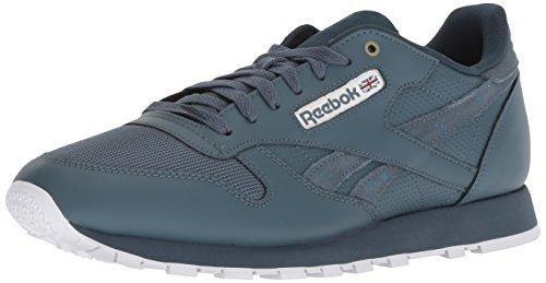 (Reebok Men's Classic Leather Walking Shoe, mc-deep sea/Multi Fuji/White, 10.5 M)
