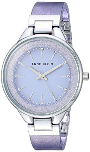 Anne Klein Women's AK/1409LVSV Swarovski Crystal Accented Silver-Tone and Lavender Resin Bangle ()