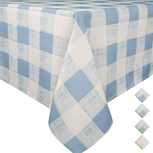 VCVCOO Spill-Proof Checkered Tablecloth Polyester Linen Table Cover Kitchen Dining Room Restaurant Party Decoration (Rectangle 60 by 84 inches, Blue Plaid) ()