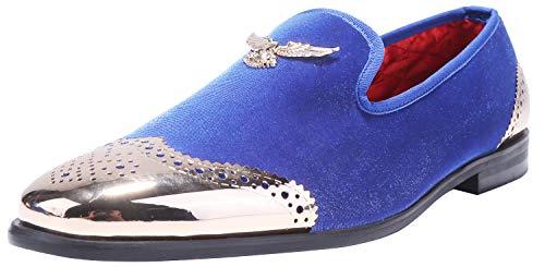 ELANROMAN Men's Metal Eagle Buckle Velvet Loafer Round Toes Smoking Slipper Dress Loafers Velvet Shoes for Men Blue (US 9.5 EUR 43) -