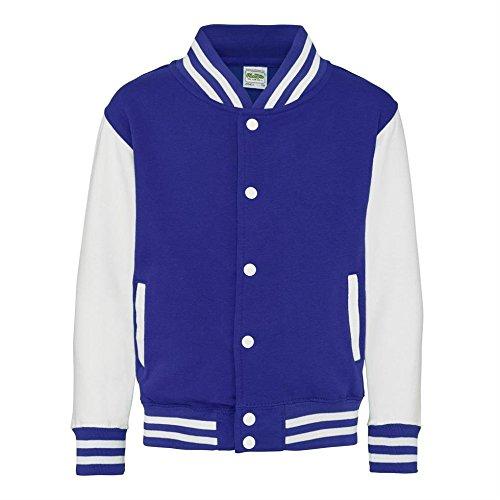 AWDis Hoods Big Boys' Varsity Letterman Jacket Royal Blue / White 12 to 13 Years (Letter Jackets For Kids)