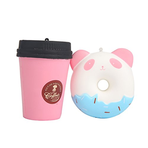 TEEGOMO Cute Panda Donuts and Pink Coffee Cup Slow Rising Scented Jumbo Squishy Stress Relief Squeeze Decorations Kids (Cute Donut)
