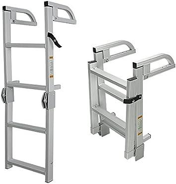 Norestar 4 Pasos Plegable Aluminio Barco Escalera de embarque con Asas, para Pontoon/Runabout/más: Amazon.es: Deportes y aire libre