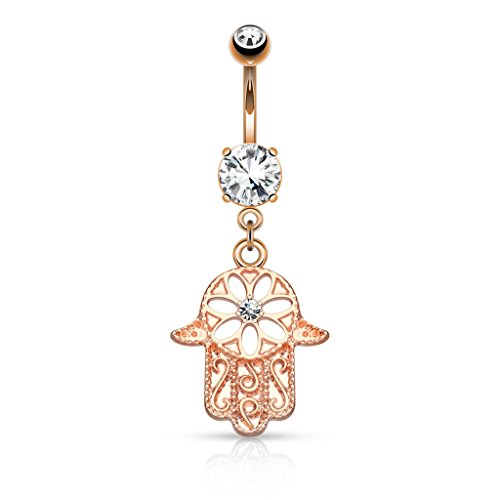Beaded Outline Hamsa Hand with Center CZ Dangle Belly Button Ring 316L 14g Navel Ring (14kt Rose Gold Plated) -