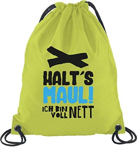 Shirtstreet24, Voll Nett, Turnbeutel Rucksack Sport Beutel Limone
