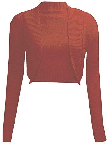 Manchon Haut tricot Rouille Bolero Longue de Haussement Plaine Cardigan Les Janisramone Femmes wxvSgqEWC