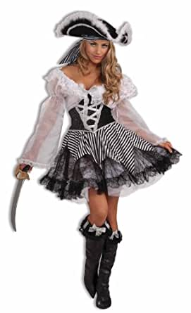 Women's Pin-Up Pirate Costume, Black/White, One Size