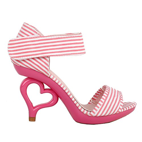 SHOW STORY Pink White Stripe D'Orsay Open Toe Dancing Women Bride Wedding Sandals,LF60806HP40,8.5US,Pink White Stripe