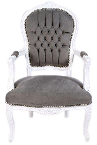 Barock Stuhl Massivholz Antikstil Sessel Weiß Grau Amazonde