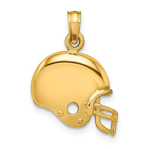 14k Yellow Gold Football Helmet Pendant Charm Necklace Sport Man Fine Jewelry Gift For Dad Mens For Him ()