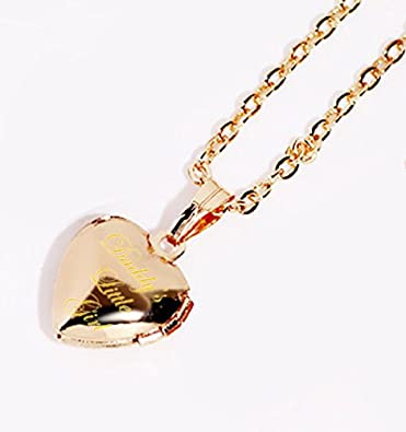 Daddys Little Girl Heart Locket Necklace That Pictures Engraving Pendant