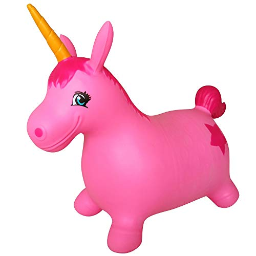 (AppleRound Unicorn Bouncer with Hand Pump, Inflatable Space Hopper, Ride-on Bouncy Animal (Pink))