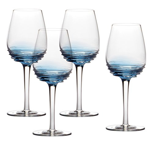 (Mikasa Swirl Cobalt White Wine Glass (Set of 4), 10.5 oz)