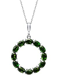 Amazon chrome diopside gemstones jewelry women clothing 700 ct oval chrome diopside 925 sterling silver round pendant with 18 chain aloadofball Images