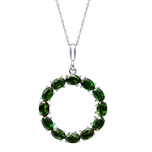 - Gem Stone King 7.00 Ct Oval Chrome Diopside 925 Sterling Silver Round Pendant with 18inches Chain