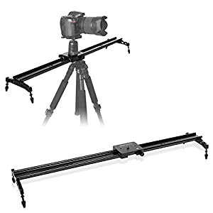 "COOCHEER Camera Slider, Aluminum DSLR Dolly Track Rail Perfect for Photography and Video Recording with 1/4"" 3/8"" Screw for YouTube video and short filmmakers (80cm Camera Slider) (80cm Camera Silder)"