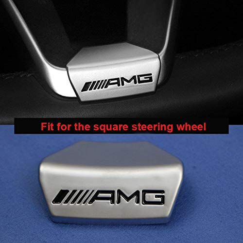 Sparkoo Metal AMG Logo Cover Steering Wheel Emblem Decal Sticker Badge Decoration Emblem FOR Mercedes Benz A/B/C/CLS/E/CLA/S/GLE/GLC (D Square Steering Wheel)