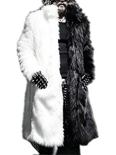 [해외]의 두껍게하는 가짜 모피 긴 유행 대 스탠드 칼라 겨울 코트/Men`s Thickening Faux Fur Long Stylish Stand Collar Winter Coat