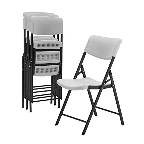 Superday Plastic Folding Chair Classic Commercial Grade Folding Party Chair with Molded Seat (Pack of 4) ()