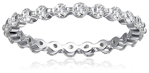 18k White Gold Shared-Prong Diamond Eternity Ring (1 cttw, H-I Color, SI1-SI2 Clarity), Size 5.5 (Diamond Prong Eternity Band Shared)