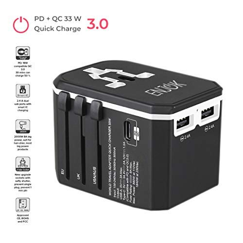 ENJOK Universal Travel Power Adapter - QC Wall Charger for USA EU UK - Worldwide AC Wall Plug - PD Quick Charge for Cell Phone Laptop - with Dual USB Charging Ports [2000W 8A]