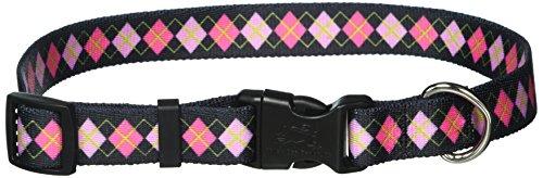 Yellow Dog Design Pink Argyle Dog Collar, Medium-3/4 Wide fits Neck Sizes 14 to 20