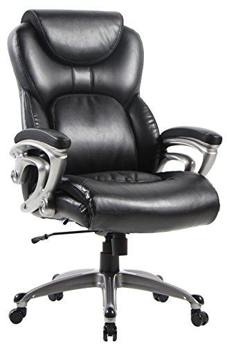 Office Chair with Bonded Leather High Back Thick Padded Headrest, Armrest and Seat