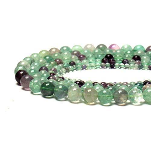 Fluorite Green Bracelet - 100% Natural Stone Round Gemstone Loose Beads Top Quality Well Polished Natural Round Stone Crystal Energy Stone Healing Power for Jewelry Making 1 Strand 15