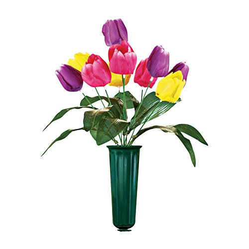 Tulip Flowers Bouquet Cemetery Grave in Memorial Flower Vase, Small - Funeral Bouquet
