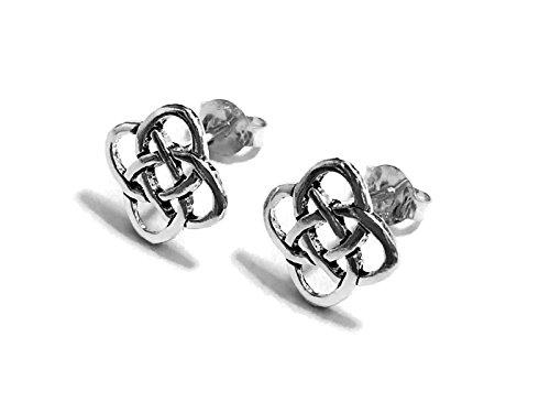 20 Gauge (0.8mm) 925 Sterling Silver Earring Cartilage Women Girl Woman Ear Stud Helix Tragus Square Celtic knot 3/8