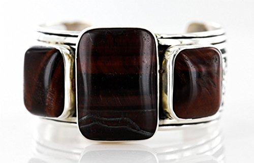 - Collectable Handmade Certified Authentic Navajo .925 Sterling Silver Signed Red Tigers Eye Native American Cuff Bracelet