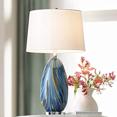 - Pablo Modern Table Lamp Multi Color Blue Hand Blown Art Glass Tapered Drum Shade for Living Room Bedroom Bedside Nightstand Office Family - Possini Euro Design