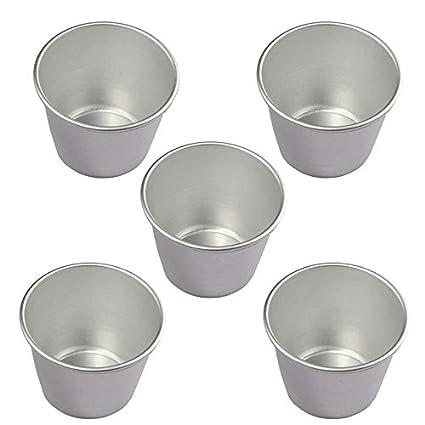 Molde de aluminio para repostería Wuudi, 5 piezas, molde para cupcakes, vasos de