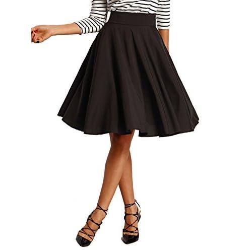 27722383df ROMWE Women's High Waisted A line Skirt Skater Pleated Midi Skirt hot sale  2017