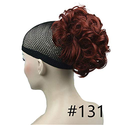 (Short Curly Claw Clip-On Hair Ponytail Hairpiece Synthetic Extension Wig 42 Color Red 6Inches)