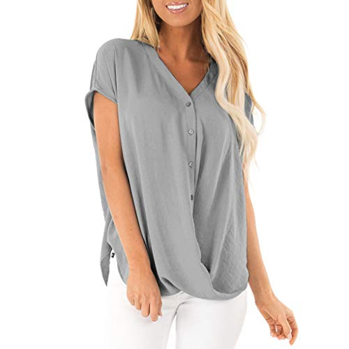 (Toponly Womens Draped Wrap Loose Blouse Chiffon Short Sleeve V Neck Button Down T Shirts Tie Front Knot Casual Tops)