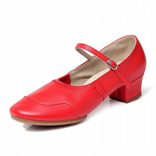 BYLE Sandalias de Cuero Tobillo Modern Jazz Samba Zapatos de Baile Zapatos de Baile Suave con Fondo Rojo. Onecolor