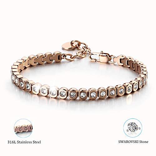 YvY 2019 Newest Designed Tennis Bracelet Swarovski Stone 316L Stainless Steel Lady Chain for Gift (Rose - Bracelets Round Swarovski
