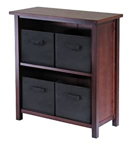 Winsome Wood Verona Wood 3 Tier Open Cabinet with 4 Black Folding Fabric Baskets