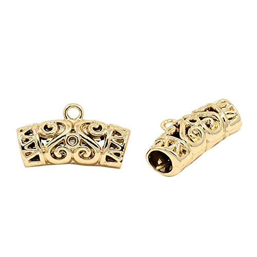 (PH PandaHall 10pcs Alloy Hanger Links Filigree Bail Beads Golden Curved Tube Spacers for Necklaces Bracelets Jewelry Making)