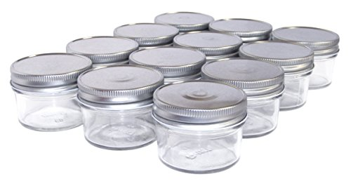 North Mountain Supply 4 Ounce Regular Mouth Mason Canning Jars - with Silver Metal Safety Button Lids - Case of 12]()