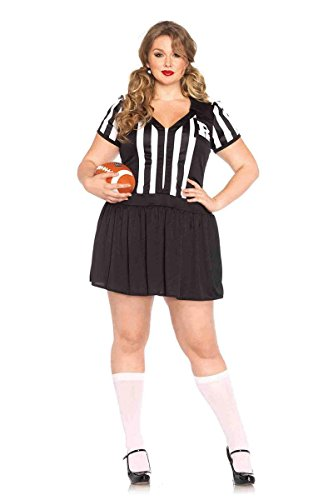 Leg Avenue Women's Plus-Size Halftime Hottie Referee Costume, Black/White, (Woman Referee Costumes)