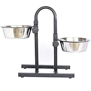 Pets Empire Dog Adjustable Feeding Stand U Type with 2 Bowls, 1600 ml