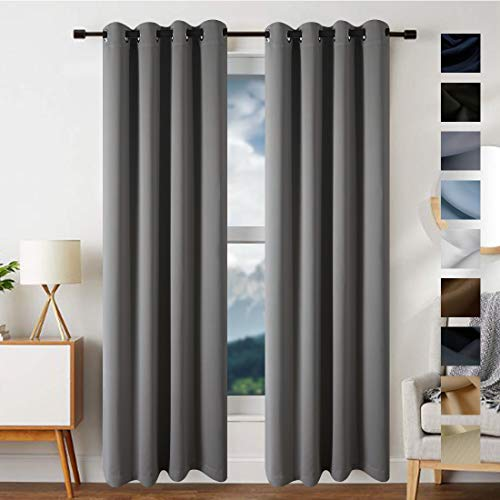 - FREELIFE Blackout Curtains Grey Panels for Bedroom - Three Pass Microfiber Noise Reducing Thermal Insulated Solid Ring Top Blackout Window Drapes (2 Panels,W52xL95 inch,Cement Grey)