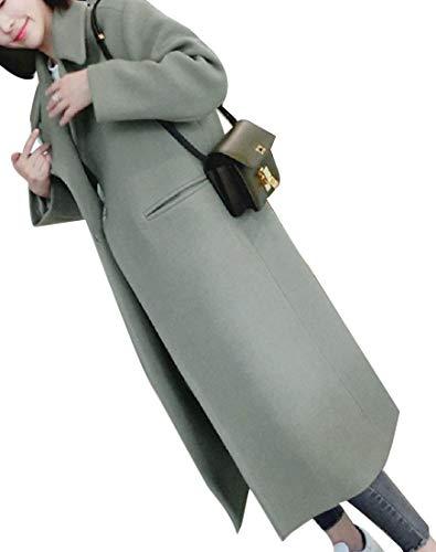 Howme-Women Classic Fall Winter Turn-Down Collar Long Woolen Coat Green