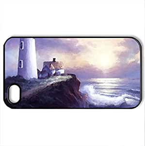 LIGHTHOUSE - Case Cover for iPhone 4 and 4s (Lighthouses Series, Watercolor style, Black)