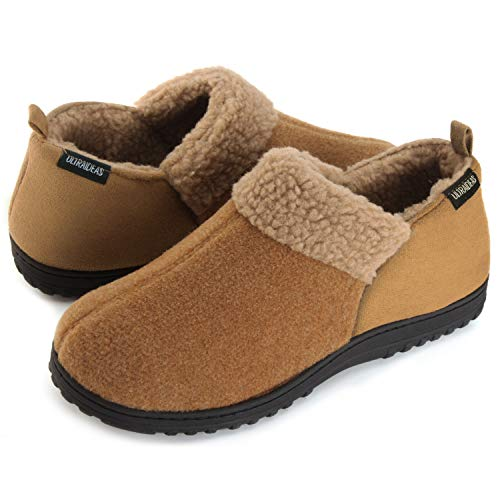 - ULTRAIDEAS Men's Cozy Memory Foam Slippers with Warm Fleece Lining, Wool-Like Blend Micro Suede House Shoes with Anti-Slip Indoor Outdoor Rubber Sole Tan